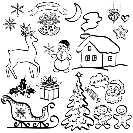 christmas tattoo: Christmas elements for holiday design