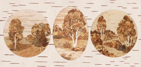 Set Russian Siberian natural landscapes  Handmade, application from slices of an underside of a birch bark photo