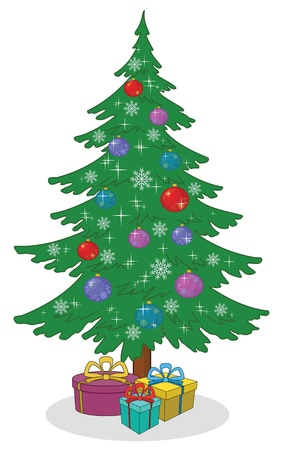 Holiday cartoon  Christmas tree with decoration and gift boxes  Vector