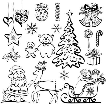 Kerst elementen voor vakantie ontwerp, set van zwarte cartoon silhouetten op witte achtergrond Stock Illustratie
