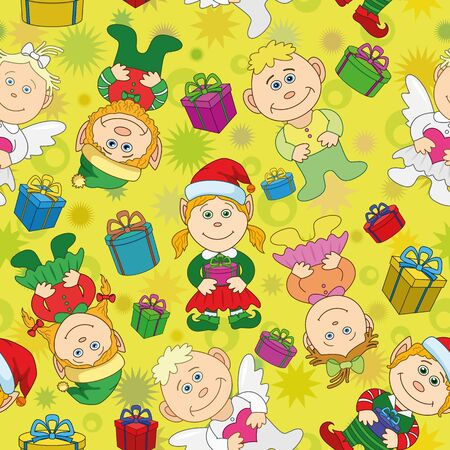 Seamless holiday Christmas cartoon background  boys and girls elves and angels with gift boxes   Vector