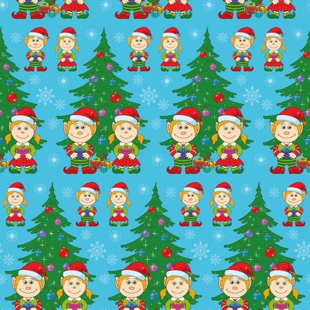 Seamless holiday Christmas background  cartoon child elves with gift boxes near fir tree   Vector