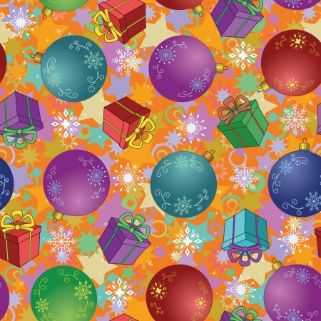 Seamless Christmas holiday background  balls, gift boxes, snowflakes and stars  Vector Vector