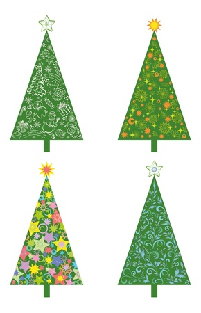 Set Christmas holiday trees with patterns and cartoons  Isolated on white background  Vector