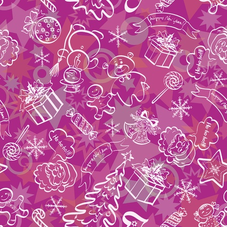 Christmas cartoon seamless background for holiday design, white contours on lilac  Vector