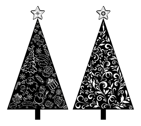 Christmas holiday trees, black silhouette on white background, with outline floral pattern and cartoons  Vector Vector