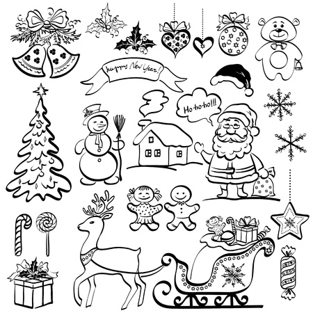 Christmas elements for holiday design, set of black cartoon silhouettes on white background  Vector Vector