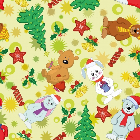 Christmas cartoon seamless background for holiday design with toys characters  Vector Vector