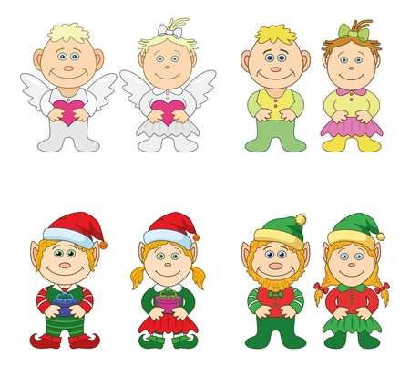 dwarf christmas: Set boys and girls  holiday Valentine angels, leprechauns, Christmas gnomes  Vector