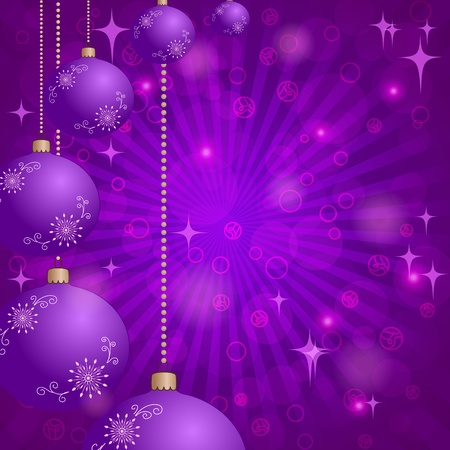Christmas holiday background  balls, stars and rays, contains transparencies  Vector Vector