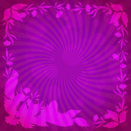 Abstract floral background  lilac silhouette leaves, flowers and feathers  Vector