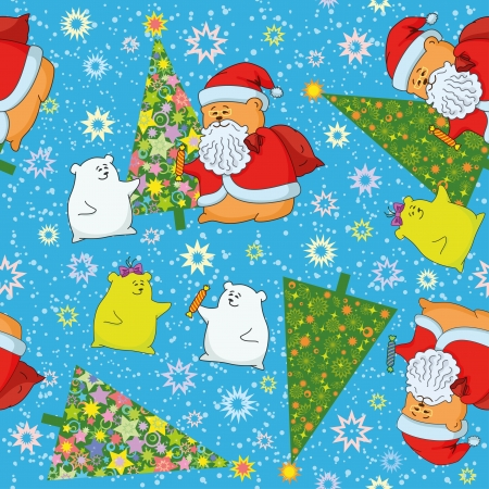 Christmas cartoon seamless background for holiday design with toys characters   Vector