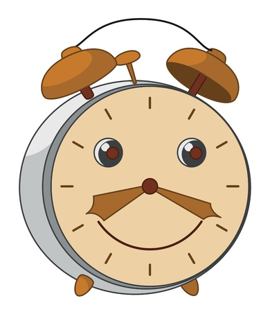 Cheerful smiling mechanical ancient alarm clock from copper and steel Vector