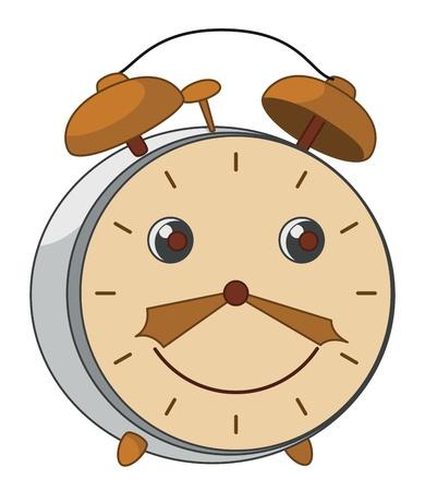 Alegre sonriente alarma antiguo reloj mecánico de cobre y acero