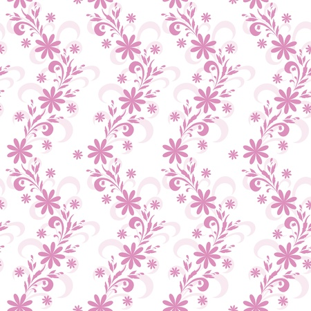 Seamless floral background, lilac symbolical silhouette flowers on white  Stock Vector - 16255371