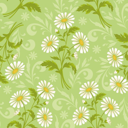 chamomile flower: Seamless floral background, lilac symbolical silhouette flowers on white  Illustration
