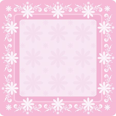 Abstract floral background with white flowers silhouettes and frame   Vector