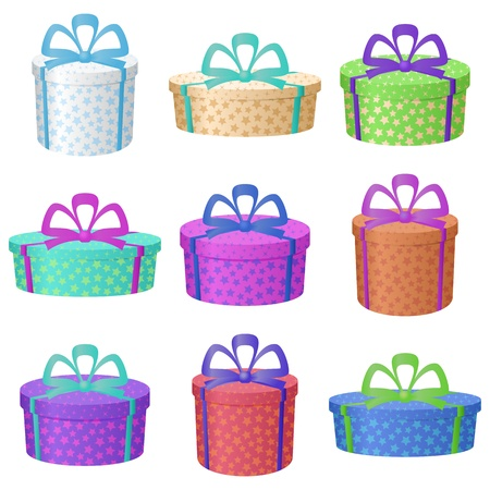 multi coloured: Set multi coloured round gift boxes with a patterns and bows, isolated on white background