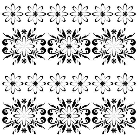 Seamless floral pattern, black symbolical contour flowers on white background   Vector