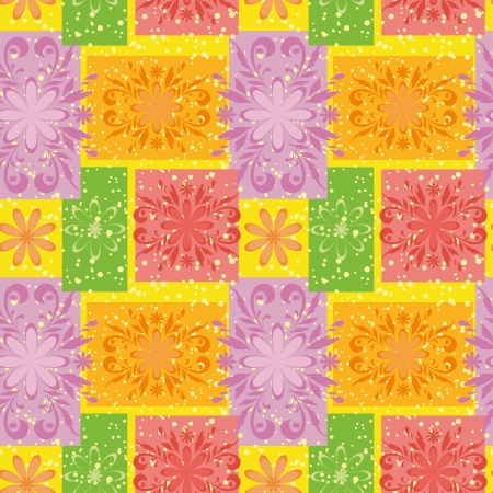 motley: Seamless floral background, symbolical motley flowers and rectangles  Vector Illustration