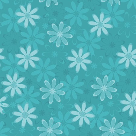 Seamless floral background, symbolical silhouettes and contours flowers  Vector