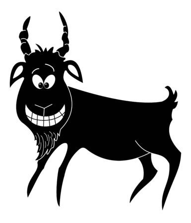 Cheerful cartoon smiling goat, black silhouette on white background  Vector