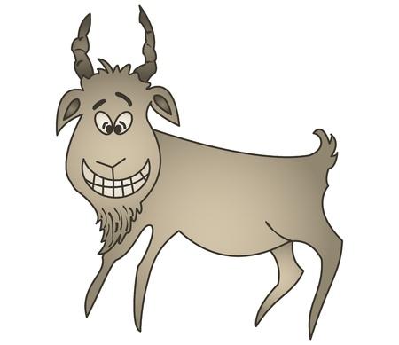 Roca pintura del artista antiguo las sonrisas alegres cabra en una amplia sonrisa