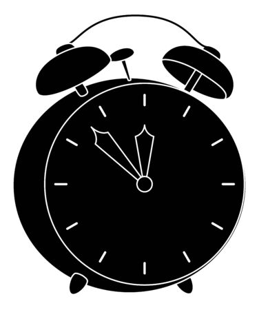 Old mechanical alarm clock, black silhouette on white background  Vector Stock Vector - 16935649