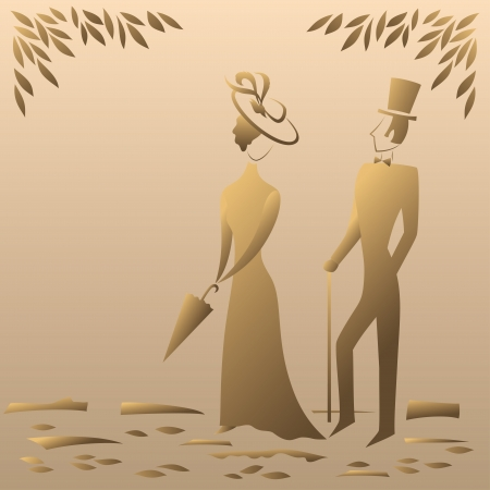 Lady and gentleman on a sentimental walk in the park, symbolic vintage style  Vector Vector