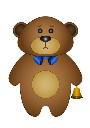 Teddy bear a tilde with a gold hand bell in a paw