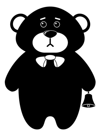 Toy teddy bear a tilde with a bell, black contours on white background   Vector