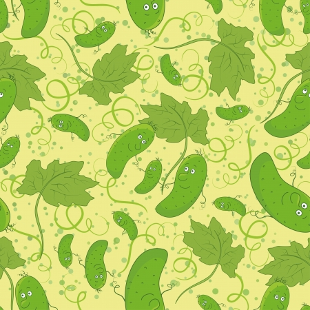 Seamless cartoon background, family of cucumbers, parent and children