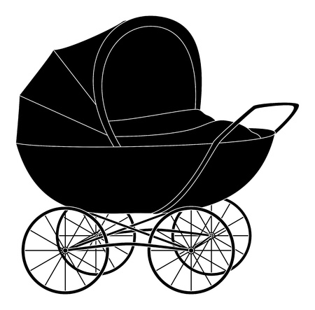 upbringing: Baby pram, black contour on white background