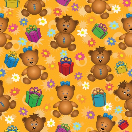 Seamless holiday cartoon background  teddy bears, gift boxes and flowers   Vector