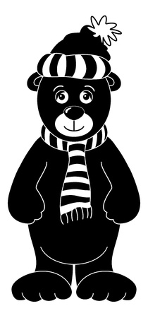Teddy bear in cap and scarf, black silhouette contours on white background   Vector