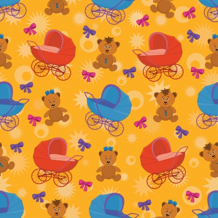 Seamless cartoon background  teddy bears, prams and bows  Vector Vector