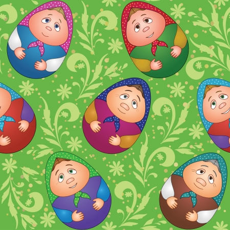 Seamless background, Russian traditional national wooden dolls Matreshka in the form of Easter eggs and green floral pattern Vector
