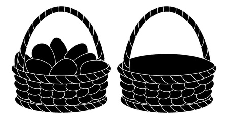 Wattled Easter baskets, empty and with chicken eggs, black silhouettes on white background   Vector