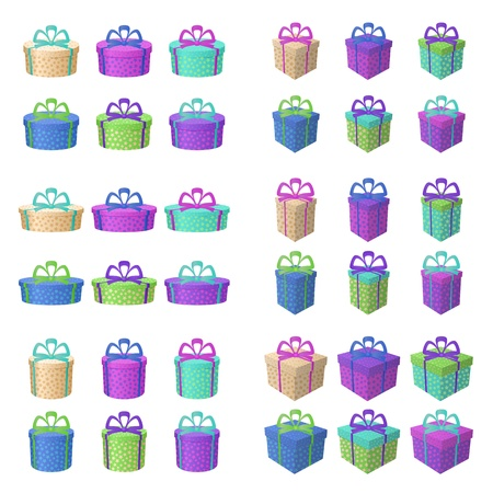 multi coloured: Set multi coloured gift boxes with a patterns and bows, isolated on white background