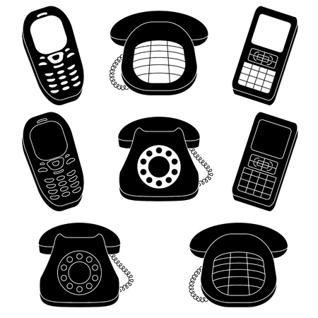 telephonic: Set of phones, vintage and mobile, black silhouette on white background