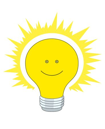 Shining electric bulb with a smile, eyes and bright aura Stock Photo - 17205426