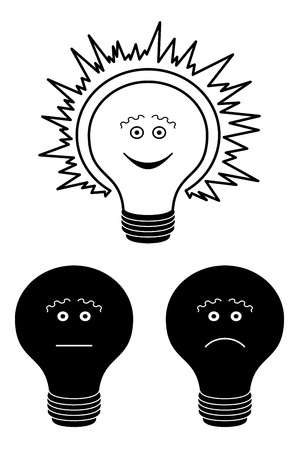 illuminator: Set of smilies in the form of electric bulbs - sad, indifferent and cheerful, black contour on white background  Illustration