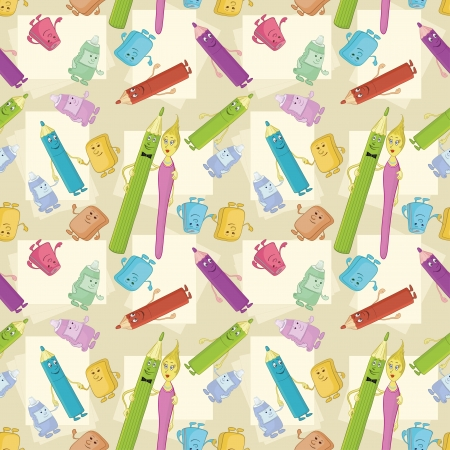 Seamless cartoon background, stationery family  pencils, brushes, tubes, erasers and pencil sharpeners  Vector Vector