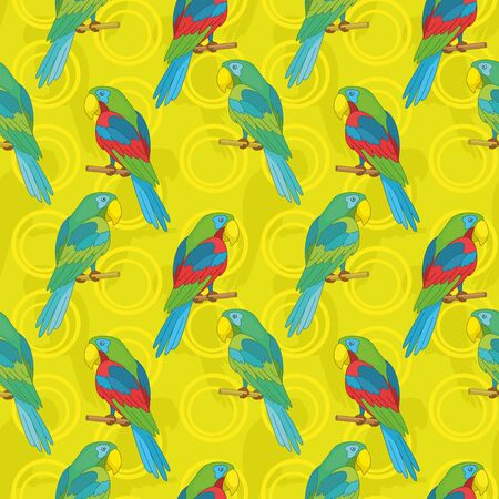 Seamless cartoon background  colored parrots sits on a wooden poles  Vector Vector