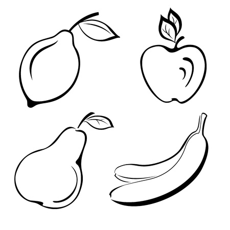 banana leaf: Set fruits  lemon, apple, pear, banana  Black contour on white background  Vector