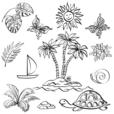 Set of the objects represent summer, exotic and a beach, black contour on white background