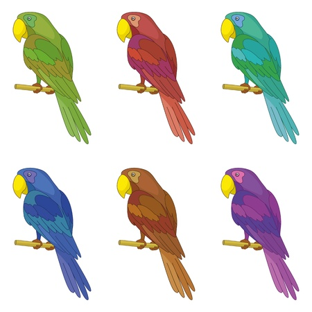 Set colorful clever speaking colored parrots sits on a wooden pole Stock Vector - 17514311