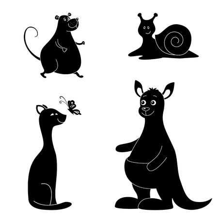 Cartoon animals  rat, snail, cat, butterfly, kangaroo  Black silhouettes on white background   Vector