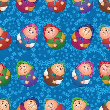 Seamless background, Russian traditional national wooden dolls Matreshka in the form of Easter eggs and blue floral pattern  Vector