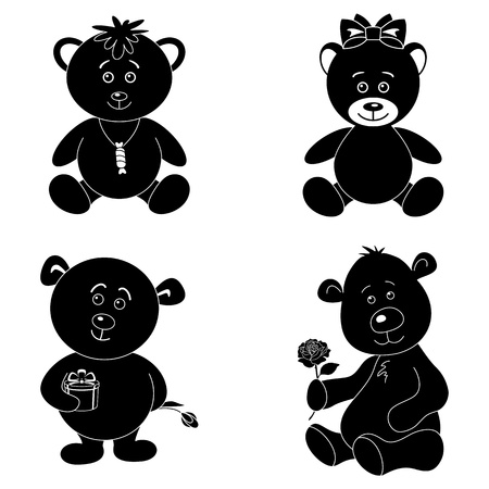 Set cartoon teddy bears with holiday objects, black silhouette on white background  Vector
